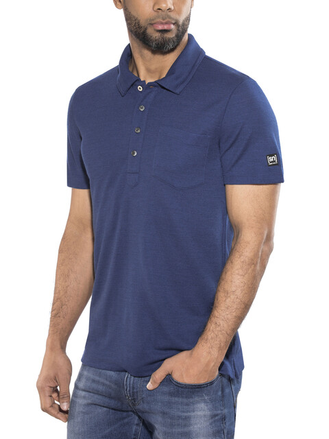 super.natural Comfort Piquet Bluzka z krótkim rękawem Mężczyźni niebieski